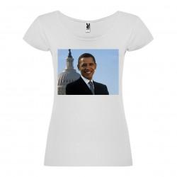 T-Shirt Barack Obama - col rond femme blanc