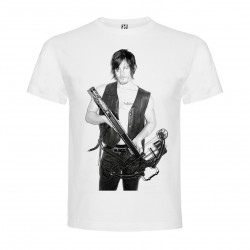 T-Shirt Norman Reedus - col rond homme blanc