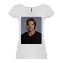 T-Shirt Jared Padalecki - col rond femme blanc