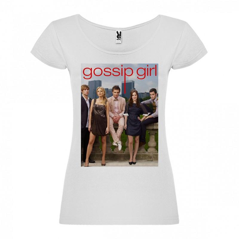 T-Shirt Gossip Girl - col rond femme blanc