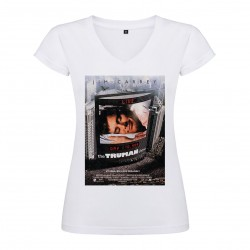 T-Shirt The Truman Show - col V femme blanc
