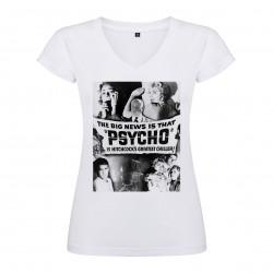T-Shirt Psychose - col V femme blanc