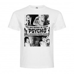 T-Shirt Psychose - col rond homme blanc
