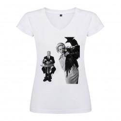 T-Shirt Les oiseaux - The Birds - col V femme blanc