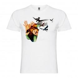 T-Shirt Les oiseaux - The Birds - col v homme blanc