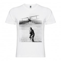 T-Shirt La Mort aux trousses - North by NorthWest - col v homme blanc