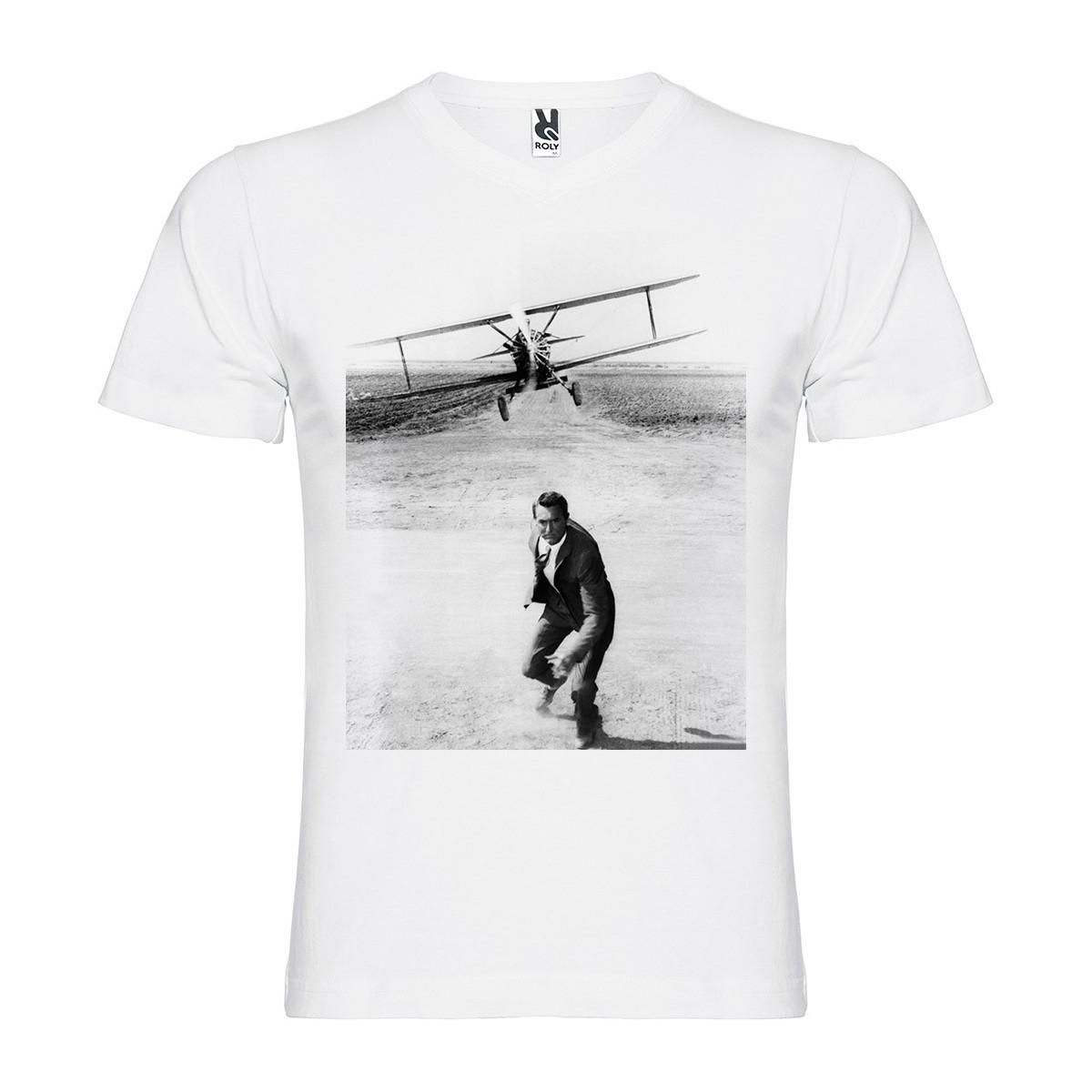 T-Shirt La Mort aux trousses - North by NorthWest - col v homme blanc