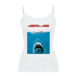 Débardeur bretelles Jaws / Les dents de la mer - femme blanc