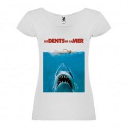 T-Shirt Jaws / Les dents de la mer - col rond femme blanc