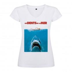 T-Shirt Jaws / Les dents de la mer - col V femme blanc