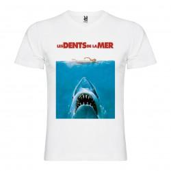 T-Shirt Jaws / Les dents de la mer - col v homme blanc