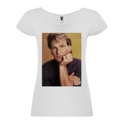 T-Shirt Patrick Swayze - col rond femme blanc