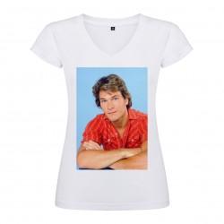 T-Shirt Patrick Swayze - col V femme blanc