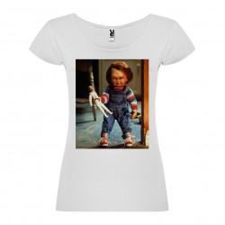 T-Shirt Chucky - col rond femme blanc
