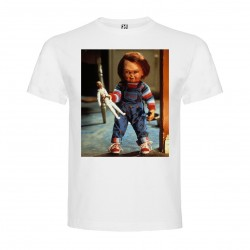 T-Shirt Chucky - col rond homme blanc