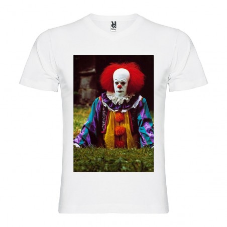 T-Shirt Ça, le film - col v homme blanc