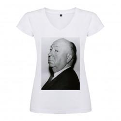 T-Shirt Alfred Hitchcock - col V femme blanc