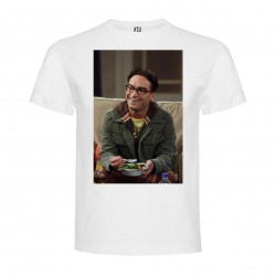 T-Shirt Johnny Galecki - col rond homme blanc