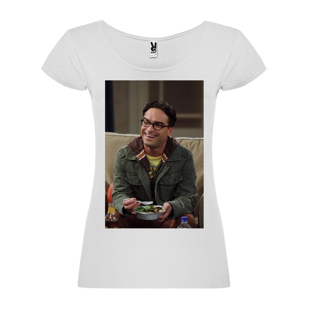 T-Shirt Johnny Galecki - col rond femme blanc