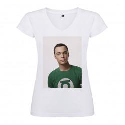 T-Shirt Jim Parsons - col V femme blanc