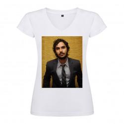 T-Shirt Kunal Nayyar - col V femme blanc