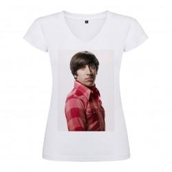 T-Shirt Simon Helberg - col V femme blanc