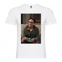 T-Shirt Johnny Galecki - col v homme blanc