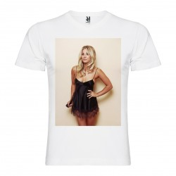 T-Shirt Kaley Cuoco - col v homme blanc