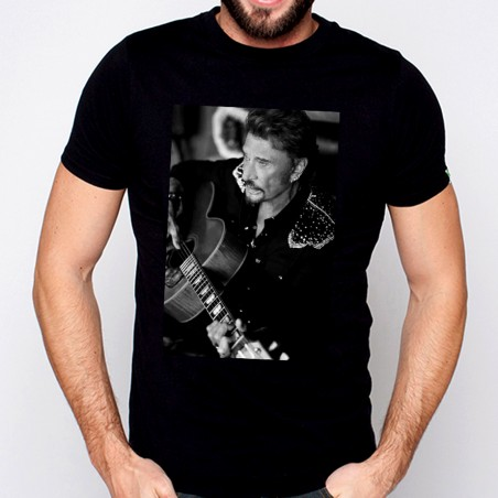 T-Shirt Johnny Hallyday Portrait - homme noir