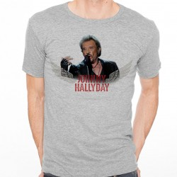 T-Shirt Johnny Hallyday Rock'n Roll - homme gris