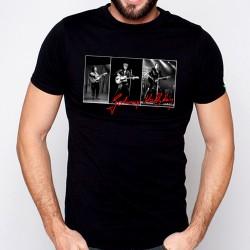 T-Shirt Johnny Hallyday triptyque - homme noir