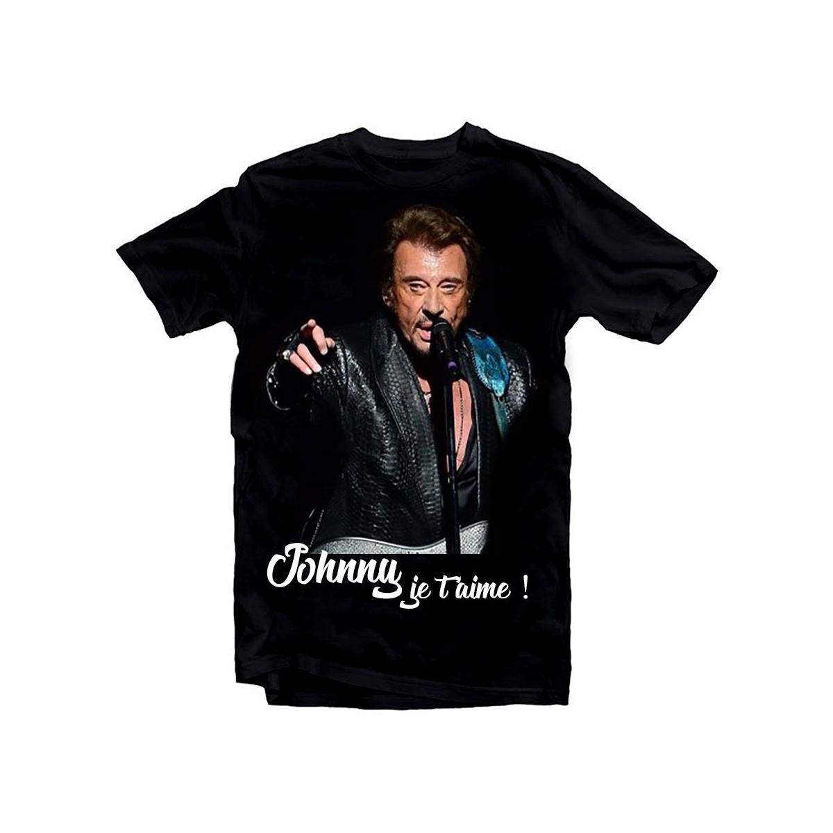 T-Shirt Johnny Hallyday je t'aime - homme noir