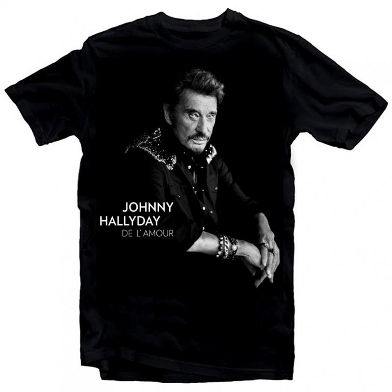 T-Shirt Johnny Hallyday de l'amour - homme noir