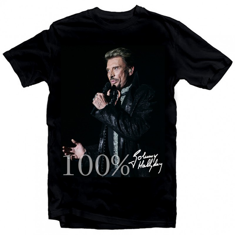 T-Shirt Johnny Hallyday 100% - homme noir