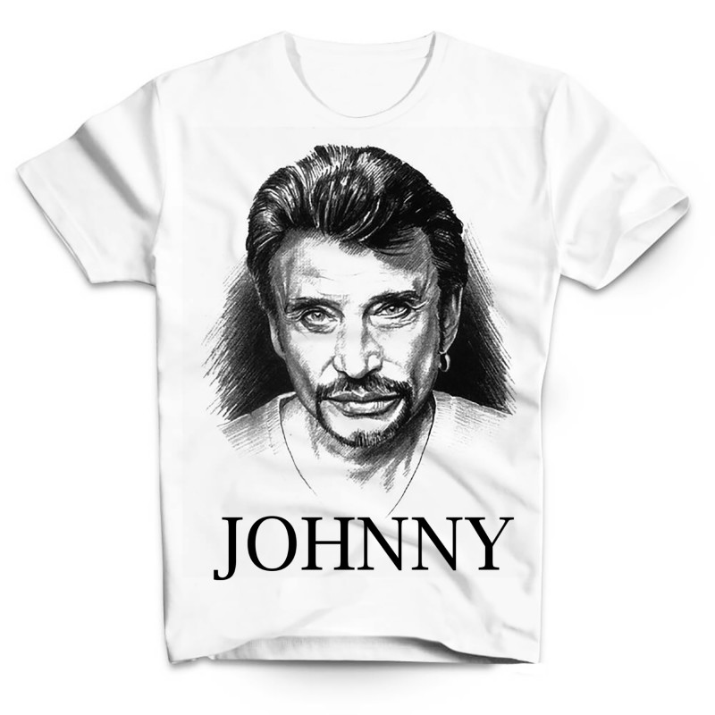 T-Shirt Johnny Hallyday illustration - homme blanc