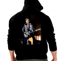 Sweat Capuche Johnny Hallyday Guitare NOIR